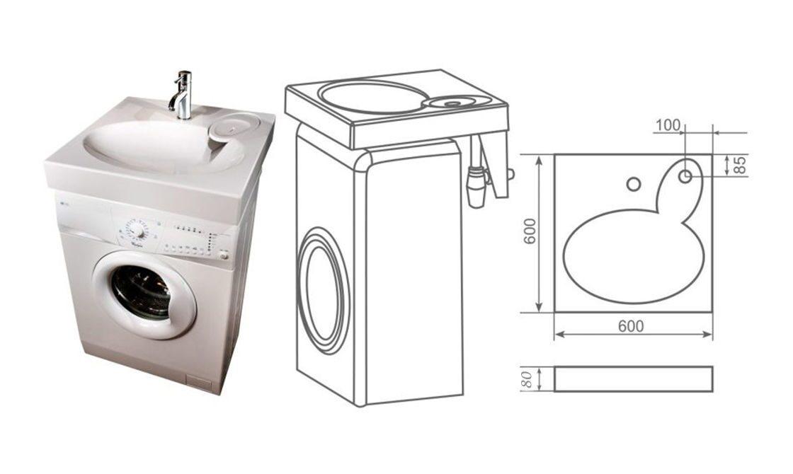 раковиной схема машина под стиральная